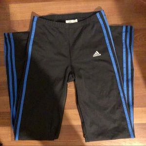 Adidas Climalite 3 Stripe Blue Black Pants